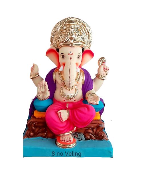 08 No Veling Eco Friendly Ganesha - 18 Inch (Shadu Mitti)