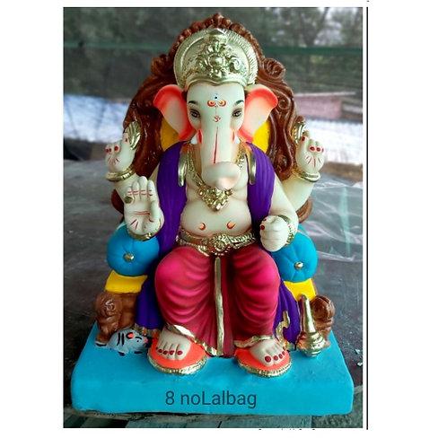 Lalbaug Eco Friendly Ganesha - 18 Inch (Shadu Mitti)