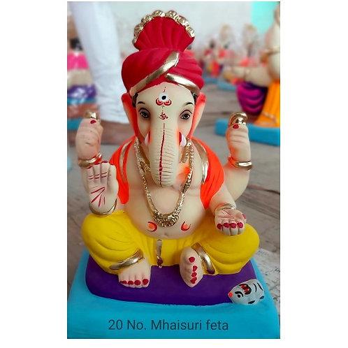 Mhaisuri Feta Eco Friendly Ganesha - 10 Inch (Shadu Mitti)