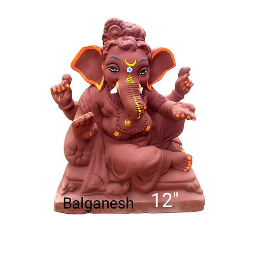 16 no Balganesha- Laal Mati Eco Friendly Ganesha - 12/13 Inch (Shadu Mitt