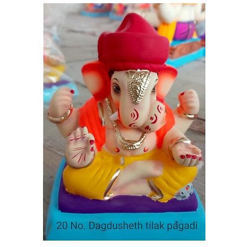 Dagadushet Tilak Pagadi Eco Friendly Ganesha - 10 Inch (Shadu Mitti)