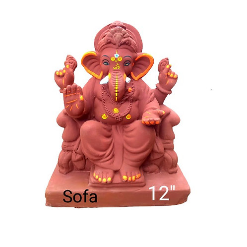 16 no Sofa- Laal Mati Eco Friendly Ganesha - 12/13 Inch (Shadu Mit