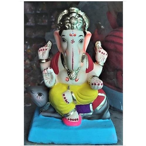 Undir Asan Eco Friendly Ganesha -9 Inch (Shadu Mitti)