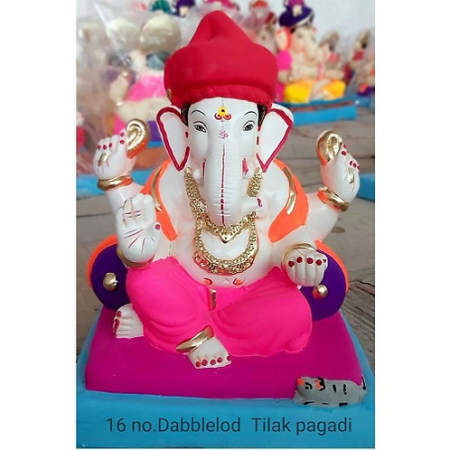 DoubleLoad Tilak Pagadi Eco Friendly Ganesha - 12/13 Inch (Shadu Mitti)