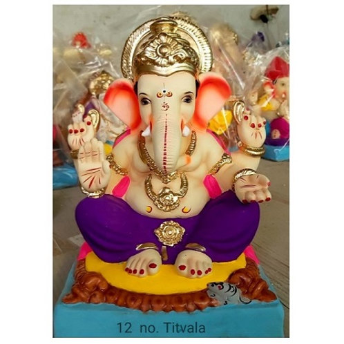 Titwala Eco Friendly Ganesha - 15/16 Inch (Shadu Mitti)