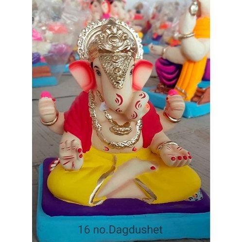 Dagadusheth Eco Friendly Ganesha - 12/13 Inch (Shadu Mitti)