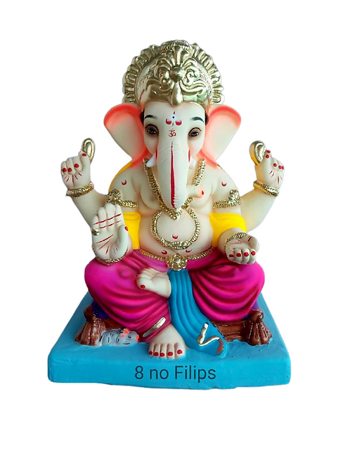 08 No Philips Eco Friendly Ganesha - 18 Inch (Shadu Mitti)