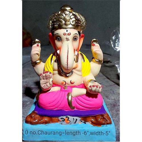 Padmasan Chourang Eco Friendly Ganesha -9 Inch (Shadu Mitti)