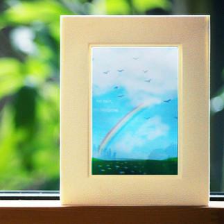 D-3D CARD(rainbow&flower garden)