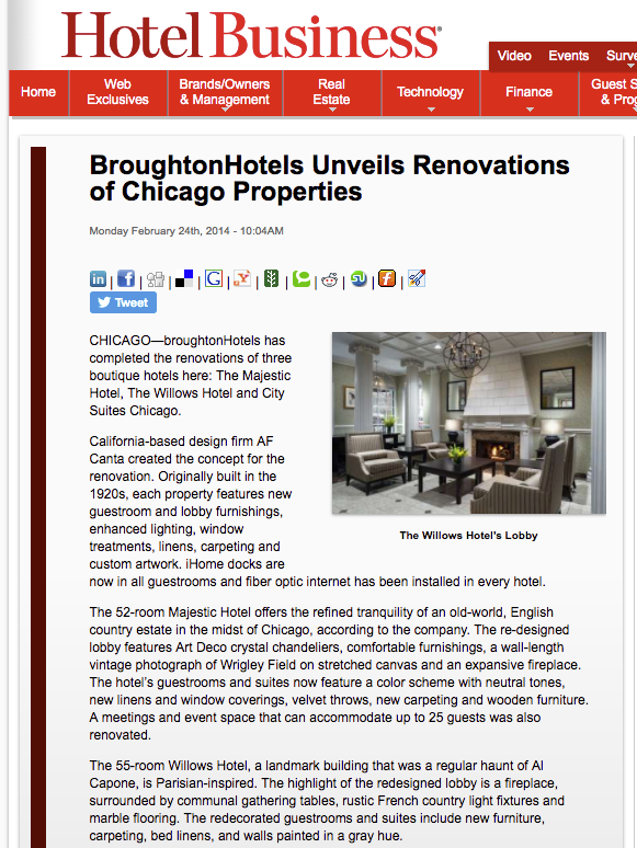 BroughtonHotels Unveils Renovations of Chicago Properties