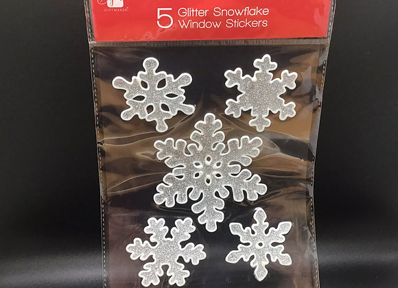 5 Glitter Snowflake Window Stickers
