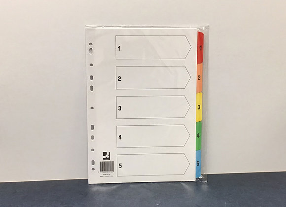 5-part numbered dividers