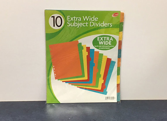 10 Extra Wide Subject Dividers - Multicoloured