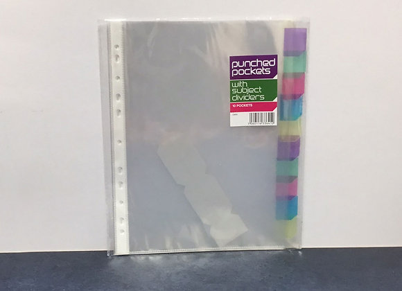 A4 punched pockets with subject dividers