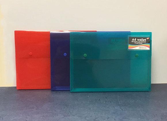 A4 Plastic Gusset Wallet