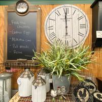 Kitchen decor, clocks, plants