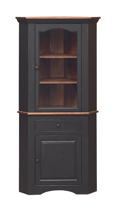 Corner Cupboard with Drawer & Glass