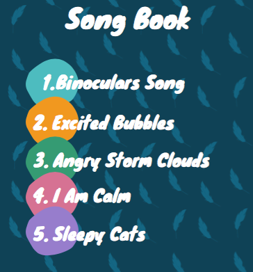 sample songbook contents