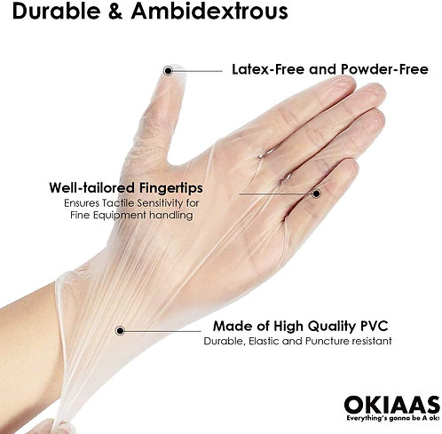 OKIAAS Vinyl Disposable Gloves| Latex and Powder-Free Cleaning Gloves