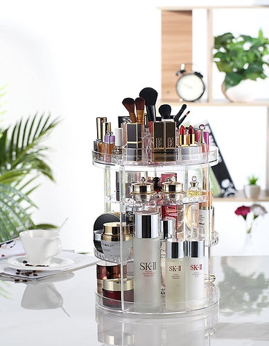 Makeup Organizer, 360 Degree Rotating Adjustable Cosmetic Storage Display Case