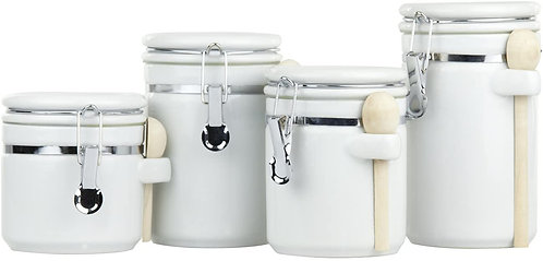 Home Basics CS44154 4 Piece Ceramic Canister Set with Spoon, White