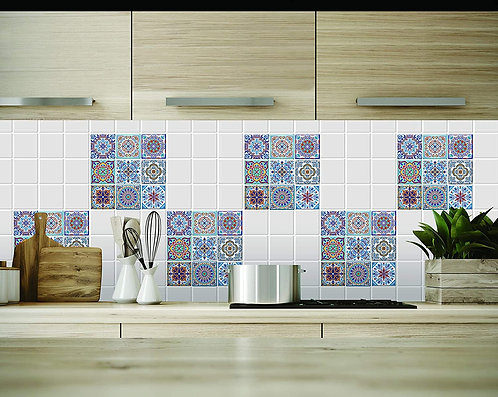 Peel and Stick Backsplash Tile Stickers, Colorful Talavera Mexican Tiles