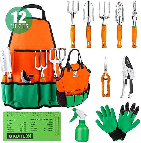 UKOKE Garden Tool Set, 12 Piece Aluminum Hand Tool Kit