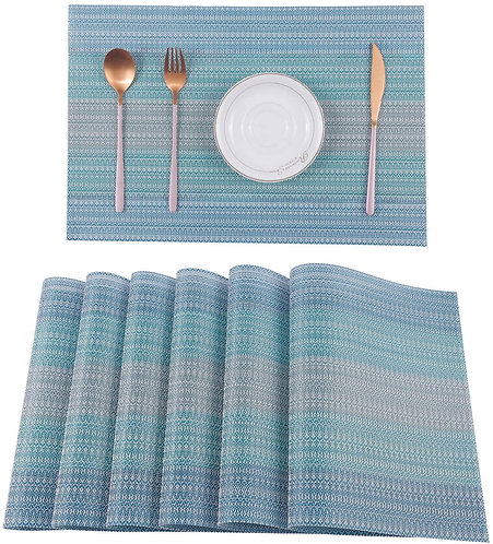 Pauwer Placemats Set of 4 for Dining Table Washable Woven Vinyl Placemat
