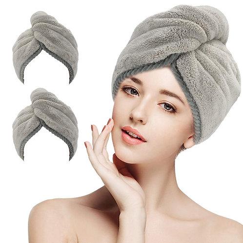 Turban Microfiber Hair Towel 2 Pack - Quick Dry Super Absorbent