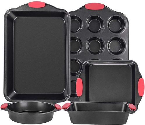 Anmon Nonstick Bakeware Set with Grips 12 Cups Muffin Pan Warp- 5 Pcs. Dark Grey