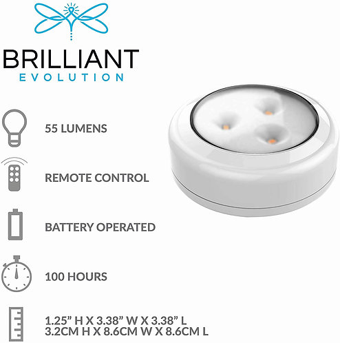 Brilliant Evolution LED Puck Light 6 Pack with Remote/Under Cabinet