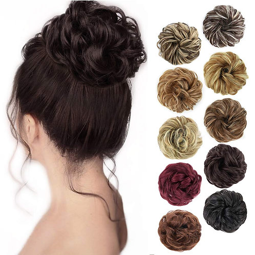 MORICA 1PCS Messy Hair Bun Hair Scrunchies Extension Curly Wavy