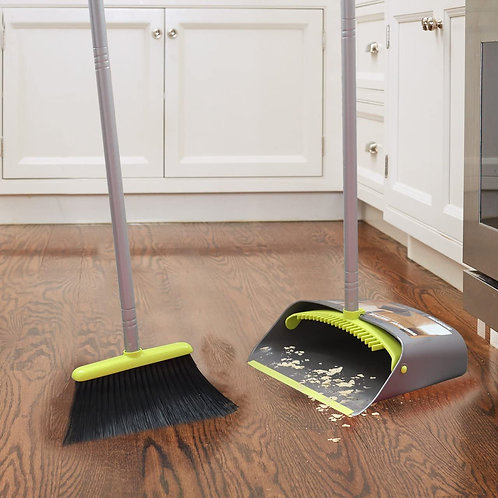 TreeLen Broom and Dustpan Set, Broom with Dust Pan with Long Handle Combo Set