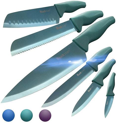 Wanbasion Green Professional Kitchen Knife Chef Set, Kitchen Knife Set Stainless