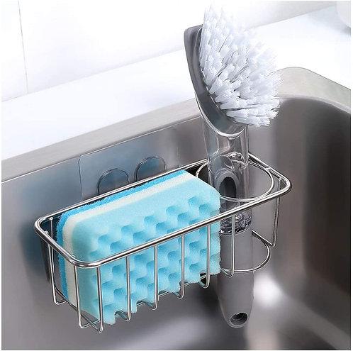 KESOL Adhesive Sponge Holder + Brush Holder, 2-in-1 Sink Caddy