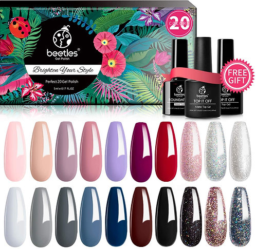 Beetles 20 Pcs Gel Nail Polish Kit, Modern Muse Collection