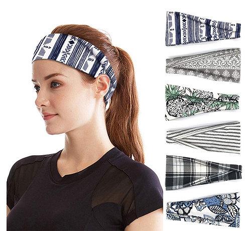 PLOVZ 6 Pack Women's Yoga Running Headbands Sports Workout Hair Bands (Set 15)