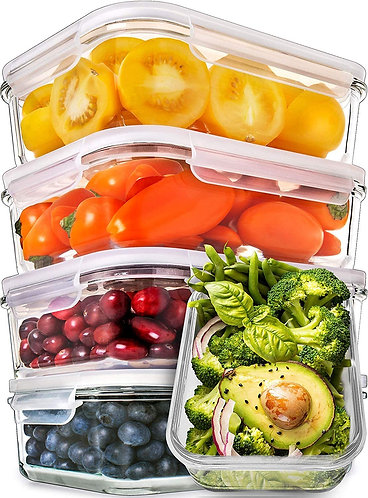 Prep Naturals Glass Meal Prep Containers - Food Prep Containers with Lids Meal