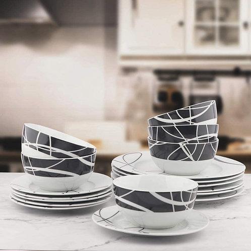 18-Piece Kitchen Dinnerware Set, Plates, Dishes, Bowls