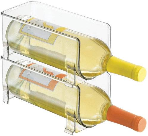 mDesign Plastic Free-Standing Water Bottle and Wine Rack Storage Organizer
