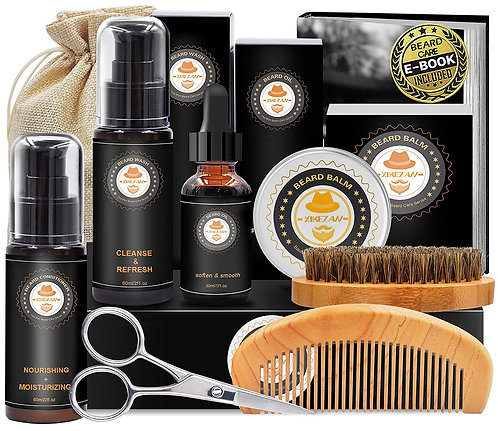 Upgraded Beard Grooming Kit w/Beard Conditioner,Beard Oil...
