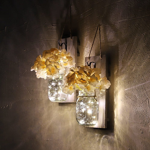 Rustic Mason Jar Sconces for Home Decor 6 Hours Timer Decorative Flower Wall