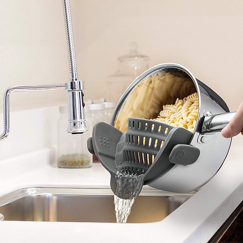 Kitchen Gizmo Snap N Strain Strainer - Gray | Patented Clip On Silicone Colander