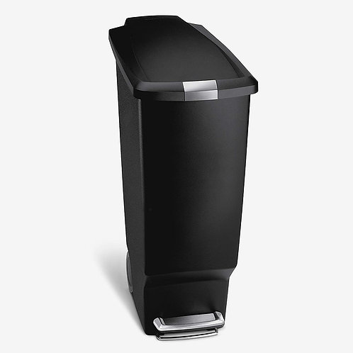 simplehuman Slim Kitchen Step Trash Can With Secure Slide Lock,