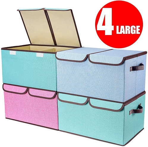 Larger Storage Cubes [4-Pack] Senbowe Linen Fabric Foldable Collapsible Storage