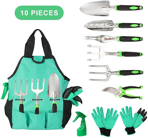 Aladom Garden Tools Set 10 Pieces, Gardening Kit