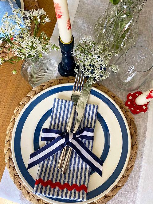 Blue stripe & red ric-rac napkin set of 2