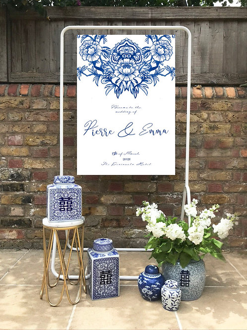 Chinoiserie Blue welcome sign