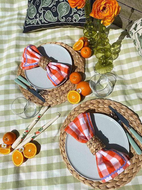 Orange gingham & lilac ric-rac napkin set of 2
