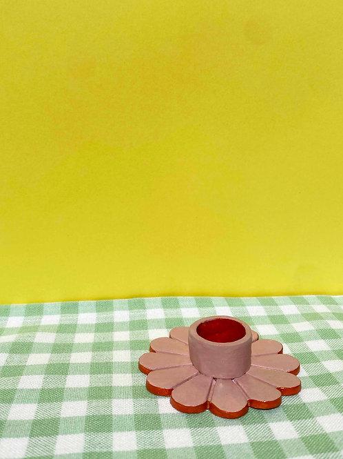 Blush & orange daisy candle holder